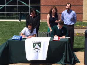 Seniors Katherine Duquiatan and Sean Tully sign their Division I National Letters of Intent
